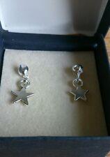 hand-made drop/dangle earrings - silver stars - girls/ladies