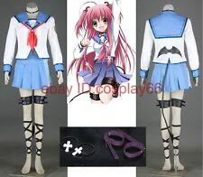 Angel Beats I Yui Girl Uniform 10 Piece Cosplay Costume Custom Any Size