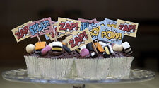 30 CUPCAKE FLAGS SPIDERMAN CAKE DECORATIONS FOOD PICKS CANAPE STICKS TOPPER