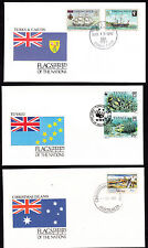 17934/ UNO Flaggen der Nationen - 3 Umschläge - Christmas Island, Tuvalu, Turks