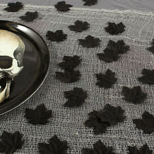 72 Haunted Halloween Party Gothic Black Glitter Fabric Leaves Table Decorations