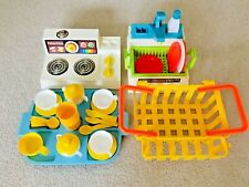 Vintage Fisher Price Kitchen Sink Stove Shopping Basket with Partial Accessories