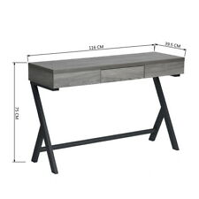 Grey Wooden Console Desk Computer Laptop Table WorkStation w/ Drawer Metal Legs