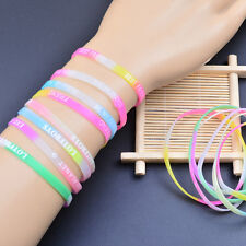 20Pcs Charm Glow In The Dark Luminous Silicone Wristband Wrist Band Bracelet New