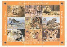 ANIMALS OF THE WORLD LION WILD CAT REPUBLIQUE DE NIGER 1998 MNH STAMP SHEETLET