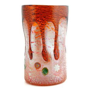 Murano Glass Drinking Artisan Tumbler Orange Silver Multi Handmade Millefiori