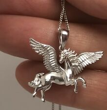 Pegasus Winged Horse Pendant, Solid Sterling Silver Necklace, New, fab quality.