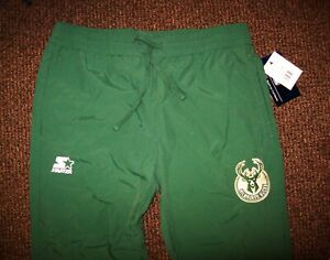 MILWAUKEE BUCKS STARTER Nylon Warm Up Pants  Green M L XL 2X