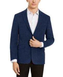 Kenneth Cole Blue Slim-Fit Stretch Faux-Suede Sport Coat Mens 42L 42 $295