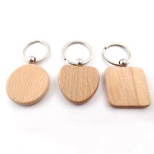 Blank Round Rectangle Wooden Key Chain DIY Promotion Pendant Wood KeychainBDZY