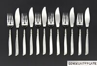 ART NOUVEAU ONEIDA COMMUNITY SOUTH SEAS FISH KNIVES AND FORKS SILVER PLATED