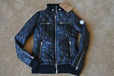 TRUE RELIGION QUILTED PUFF DOWN 2-LAYERED Jacket XS NWT$549 TR Logo's-COAL BLACK