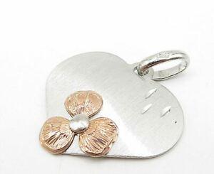 925 Sterling Silver - Two Tone Flower Love Heart Designed Drop Pendant - P7134