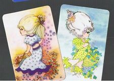 Playing Swap Cards 2 Cute Little Girls In Garden Of Flowers B/B 1970'S 337