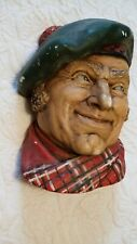 Bossons Head Chalkware Wall Hanging Irish Man - Green Cap Red Plaid Scarf AS IS
