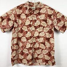 Solitude Mens XL Button Front Shirt Short Sleeved Hawaiian Floral Mauve Beige