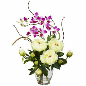 Nearly Natural Peony & Orchid Silk Flower Arrangement Decor Glass Vase White