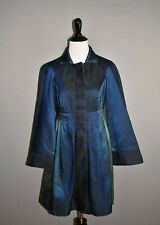 DIANE VON FURSTENBERG $478 Blue Iridescent Long Swing Coat Small