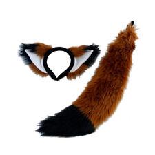 Pawstar Furry Fox Orejas & Cola Set-Disfraz Felpa Marrón Óxido Negro RU/BK [] 4007