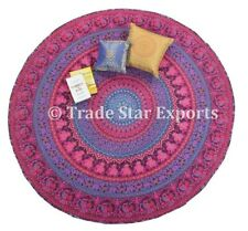 "Indian Round Mandala Tapestry 72"" Cotton Table Cover Boho Roundie Beach Throw"