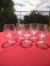 5 verres à Cognac cristal d'Arques modèle FLEURY taille épi