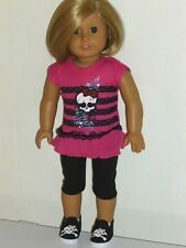 "PINK SKULL TOP LEGGINGS SNEAKERS SHOES OUTFIT fits 18"" American Girl Doll 3pc"