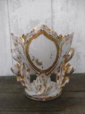 Vase de Mariée ancien Ht.16,5cm porcelaine de Paris Blanc/Or Nap.III église 1