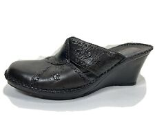 Clarks Artisan Leather Wedge Clogs Womens 8 M