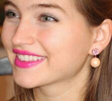 Kate Spade Pink Swarovski crystal Pearl Earrings DROP DANGLE BEAU BRIDAL