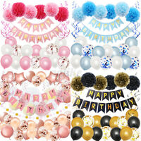 4 Types Happy Birthday Party Decoration Banner Bunting Balloons Background Dec
