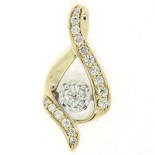 14k Oro Amarillo & Blanco .37ctw diamante brillante redondo abierto tipo Bypass