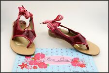 POETIC LICENCE LONDON WOMEN'S FLAT RED THONGS SANDALS SHOES SIZE 8.5 AUST 40 EUR