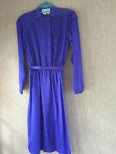 Women's Maggy Lonon Purple Blue 100% Silk  L/S Dress Size 8