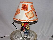 Mason Jar Table Lamp Handcrafted Themed Sewing Room Filled with Sewing Notions