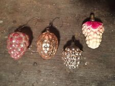OLD! Mercury Glass Kugel? Lot Grape Xmas Feather Tree Ornament Japan Bumpy Vtg