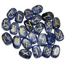 25 PC Lapis Lazuli Rune Set Tumble Natural Gemstones Reiki Healing Therapy Pouch