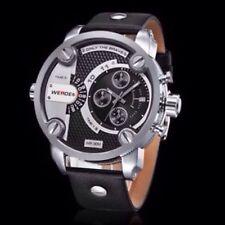 Unisex Quartz Weide Sports Watch Genuine Leather 30m Waterproof White - Black