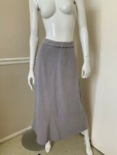 CP Shades Light Gray Pinstriped Foldover Waist Reversible Cotton Maxi Skirt XL N