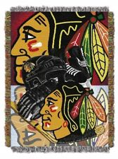 "*NEW* Chicago Blackhawks Home Ice Advantage NHL Tapestry Throw Blanket 48"" x 60"""