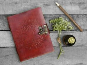 Gifts Leather Diary Journal Notebook Hand Embossed with Lock 100 Unlined