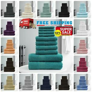10 PCS TOWEL BALE SET 100% COMBED COTTON SOFT FACE HAND BATH BATHROOM TOWELS