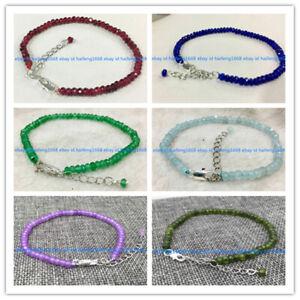 Viele 2x4mm Natürliche Mehrfarbig Rondelle Edelstein Perlen Armband 7.5''