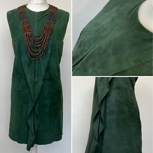 Size 12 - French Connection - Dress Mini Green Suede Frill Detail Lined VGC