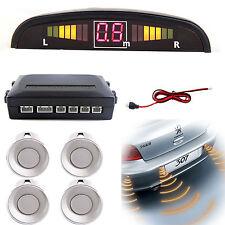 Car Rear Reversing Reverse Parking LED Display 4 Sensor Kit Audio Alarm Silver