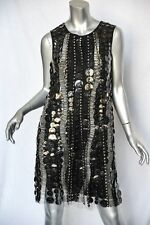 COLLETTE DINNIGAN Black Jewelled PAILLETTE+BEADS+CRYSTALS Layered Party Dress M