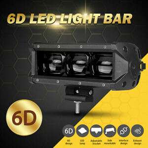 8in Single Row 30W 6D LED Work Light Bar Flood Driving Fog Lamp ATV UTV Offroad