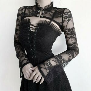 Women Gothic Vintage Stand Collar Punk Floral Lace Long Sleeve Crop Top Blouse
