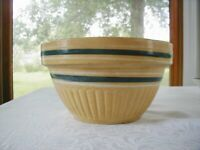 "Vtg Yellow Ware Pottery Mixing Bowl 6 Banded Blue White Slip USA 9"" Yelloware"