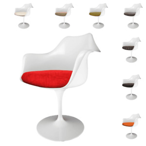 Set of 2 Glossy White Armchairs - Tulip Style with Textured Seat Cushion