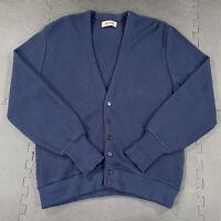Vintage 80s Jantzen Cardigan Sweater Mens Large Blue Acrylic Made in USA Grandpa